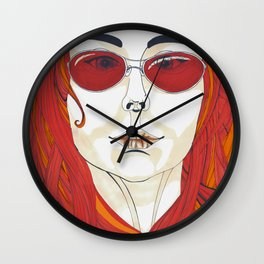 gril with red glasses Wall Clock