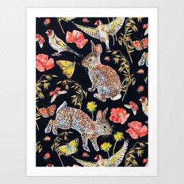 Bunny Meadow Pattern - Dark Art Print