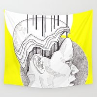 yellow pattern Wall Tapestries featuring Yellow by Raxa Russian Roulette
