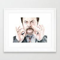 swanson Framed Art Prints featuring Swanson Mustache by Olechka