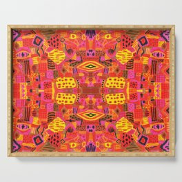Boho Patchwork in Warm Tones Serving Tray