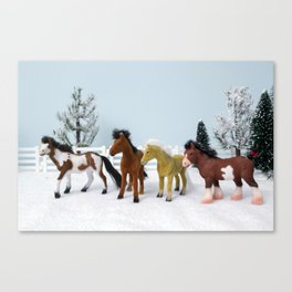 Little Horses in the Snow Canvas Print