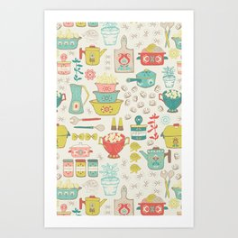 Pasta & Vintage dishes Art Print