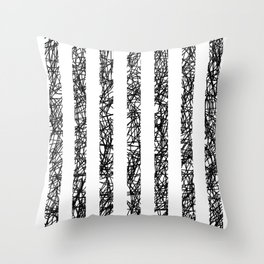 Scribble Bars - Abstract, stripy, stripey, black ink scribbles pattern, black and white Throw Pillow
