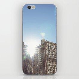 The Sun Piercing the Chicago City Skyline iPhone Skin