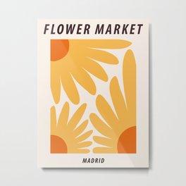 Flower market print, Madrid, Posters aesthetic, Sunflowers, Cottagecore decor, Floral art Metal Print