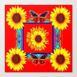 Sunflowers & Dark Butterflies Red Western Art Canvas Print