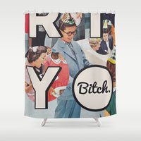 party Shower Curtains featuring party by WeLoveHumans