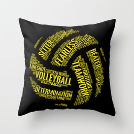 Yellow Volleyball Wordcloud - Gift Throw Pillow
