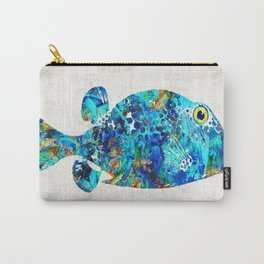 Blue Puffer Fish Art by Sharon Cummings Carry-All Pouch