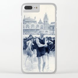 On the beach in 1900, history swimwear Clear iPhone Case