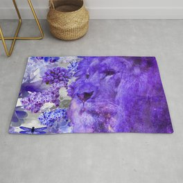 LION AND ORCHIDS  PURPLE AND BLUE FANTASY DREAM Rug