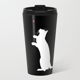 Cat and Laser Cute Minimalistic Animal Portrait Travel Mug