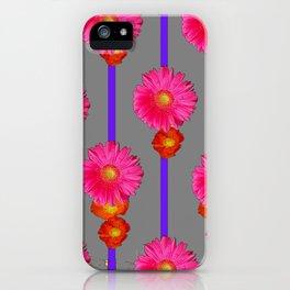 Grey Color & Pink Gerber Flowers Pattern iPhone Case