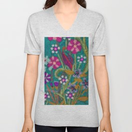 Starry Floral Felted Wool, Turquoise and Pink Unisex V-Neck