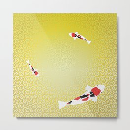 Colored carp with the Japanese pattern (cloud arabesque) Gold and Grass green Metal Print
