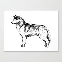 Siberian Husky Side Profile Canvas Print