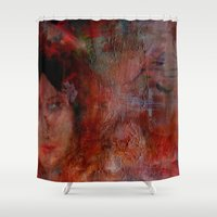 postcard Shower Curtains featuring postcard reverie  by abstractgallery