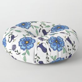 Blue and purple floral design Floor Pillow