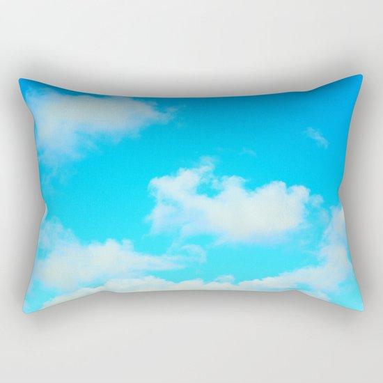 White Clouds Bright Blue Sky Rectangular Pillow