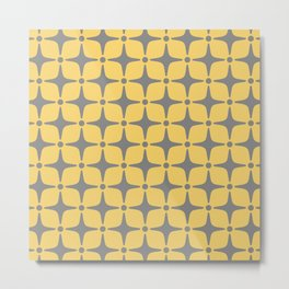 Mid Century Modern Star Pattern Yellow and Gray Metal Print