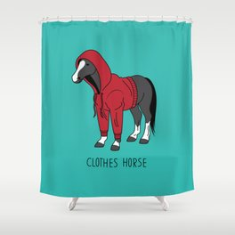 Clothes Horse Red Shower Curtain