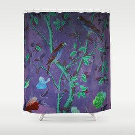 Aubergine & Teal Chinoiserie Shower Curtain