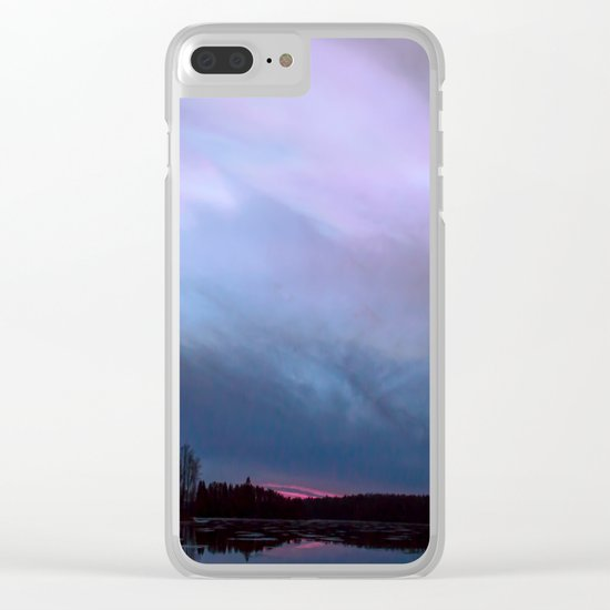Sunset in winter evening Clear iPhone Case