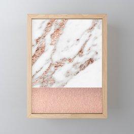 Rose gold marble and foil Framed Mini Art Print