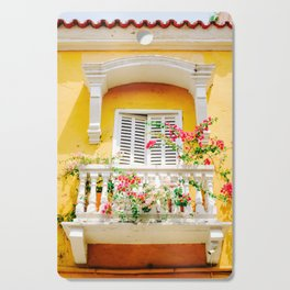 Colorful Yellow Balcony in Cartagena, Colombia Cutting Board