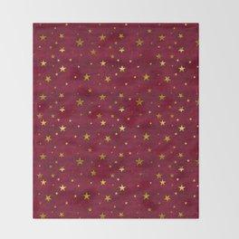 Chenille Claret Stars Throw Blanket