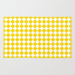 Small Diamonds - White and Gold Yellow Rug
