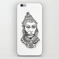 hindu iPhone & iPod Skins featuring Hindu Deity (Hanuman) by The Artful Yogini