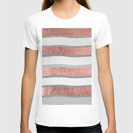Gray faux silver rose gold geometrical wave stripes T-shirt