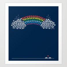 Rainbow Invaders Art Print