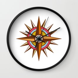 Vintage Compass Star Isolated Retro Wall Clock