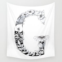 Floral Pen and Ink Letter G Wall Tapestry