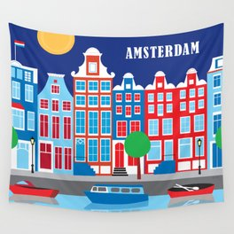 Amsterdam, Netherlands - Skyline Illustration by Loose Petals Wall Tapestry