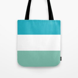 Lucite green and scuba blue stripes Tote Bag