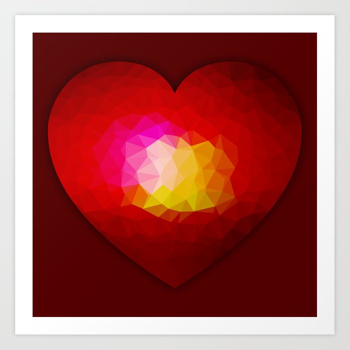 Red geometric burning heart Art Print