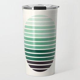 Deep Green Mid Century Modern Minimalist Scandinavian Colorful Stripes Geometric Pattern Round Circl Travel Mug