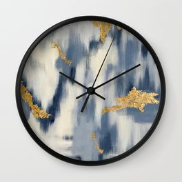 Blue and Gold Ikat Pattern Abstract Wall Clock