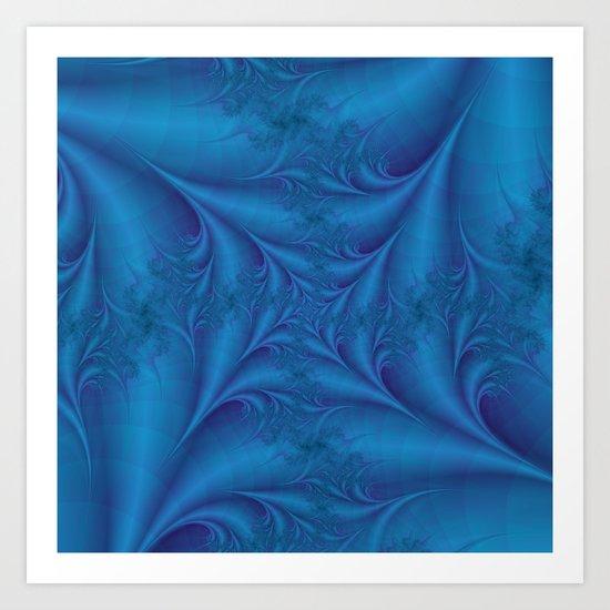 Blue Square Spiral Art Print
