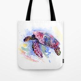 Sea Turtle , purple blue design, swimming sea turtle underwater beach scene Tote Bag