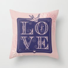 love type swallow Throw Pillow