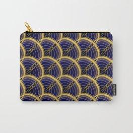 Gold Foil Art Deco Slanted Wave Deep Blue on Black Carry-All Pouch