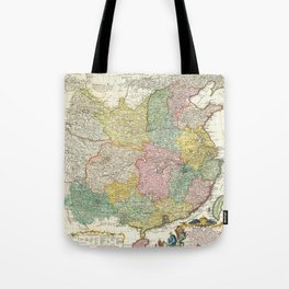 Vintage Map Print - 1740 map of China, published by Homann Heirs Tote Bag