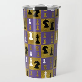 Violet Chessboard and Chess Pieces pattern Travel Mug