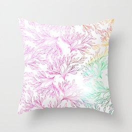 Hand painted magenta pink teal green watercolor floral Throw Pillow