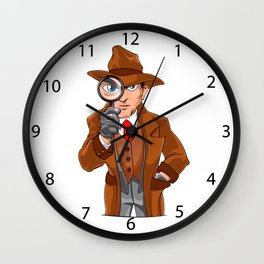 detective looking through magnifying glass Wall Clock